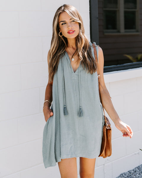 Portola Pocketed Tassel Tunic - Sage