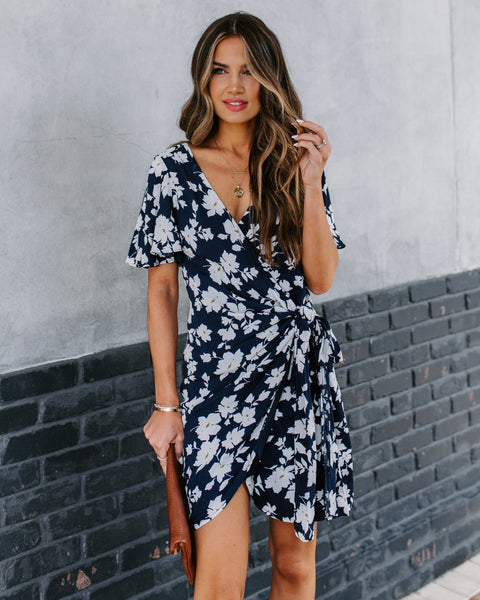More Sun-Days Floral Wrap Dress - FINAL SALE