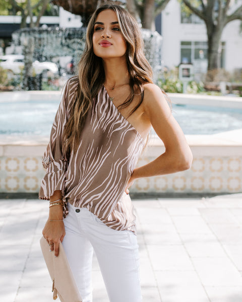 Rajah Printed One Shoulder Ruffle Blouse