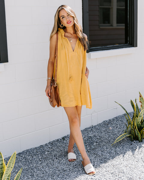 Portola Pocketed Tassel Tunic - Mustard