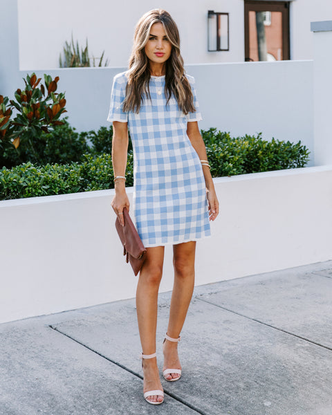 Kenji Short Sleeve Gingham Knit Dress