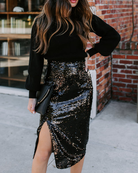 Clinking Glasses Sequin Midi Skirt - FINAL SALE