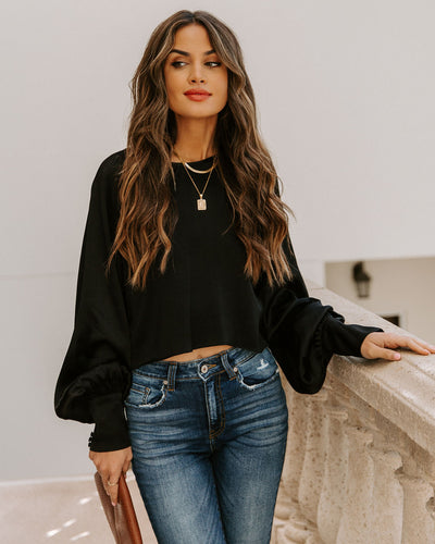 Spontaneous Satin Crop Blouse - Black