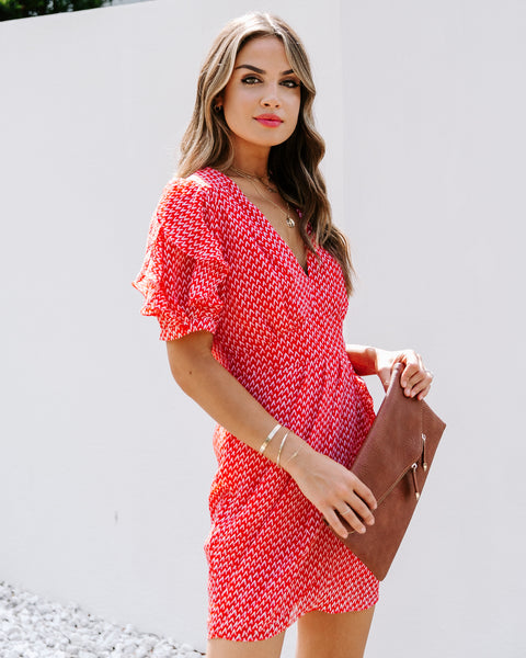 Enamored With You Printed Ruffle Drape Dress