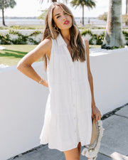 Rope Swing Cotton Tiered Button Down Dress