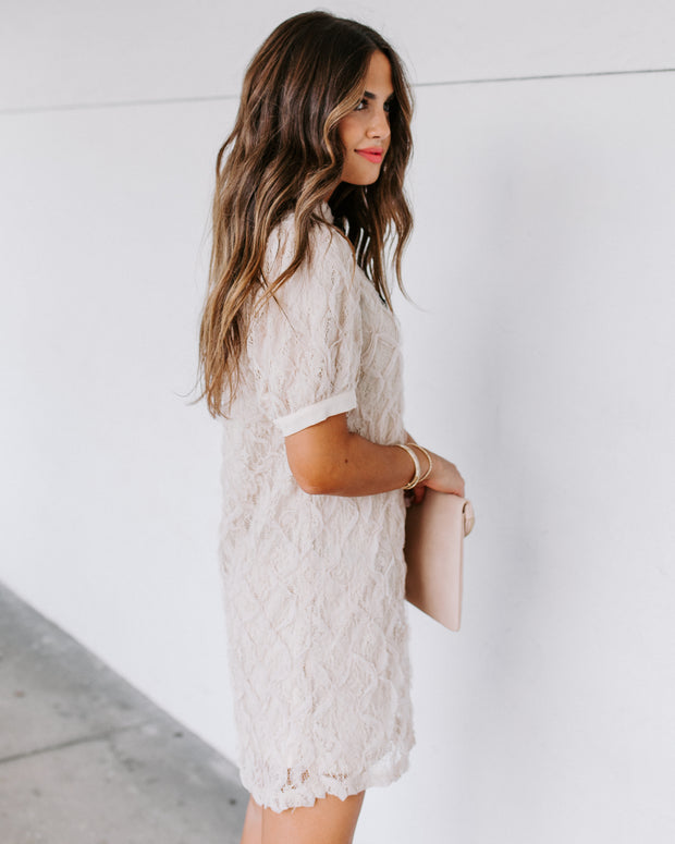 Crystal Embellished Puff Sleeve Lace Dress