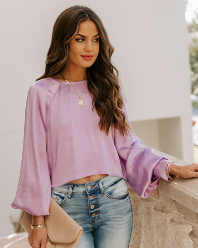 Spontaneous Satin Crop Blouse - Lilac