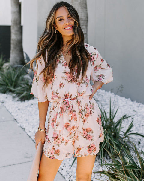 One Of A Kind Floral Ruffle Tie Romper