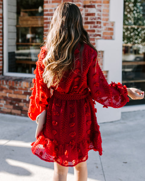 Mrs Claus Balloon Sleeve Ruffle Dress