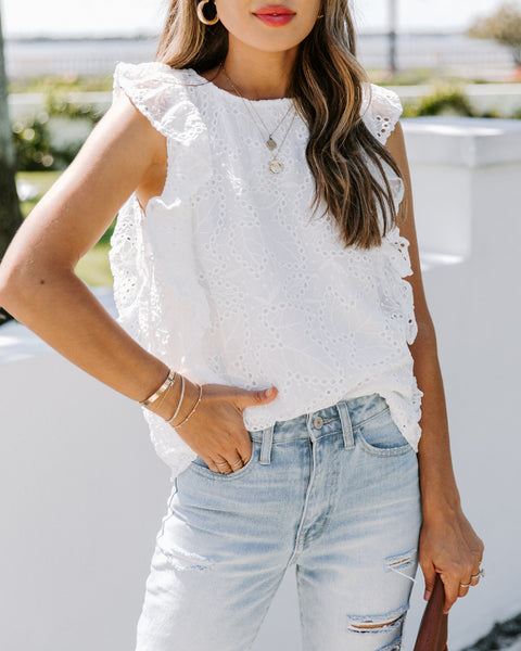 Cruz Embroidered Eyelet Flutter Blouse