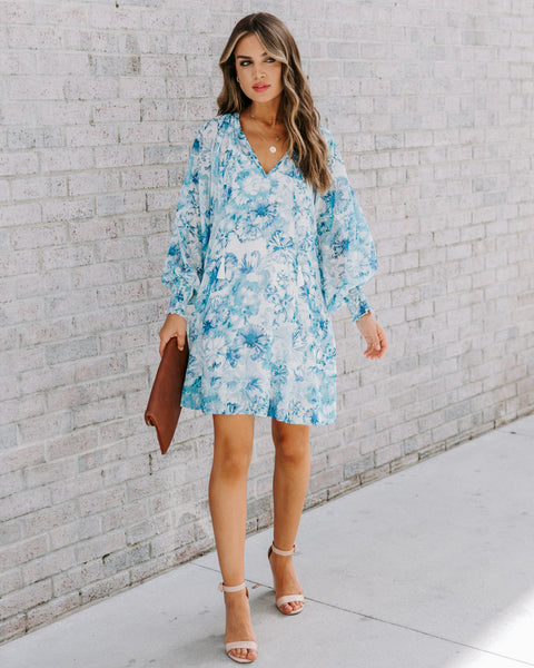 Cape May Pocketed Floral Smocked Dress - Blue