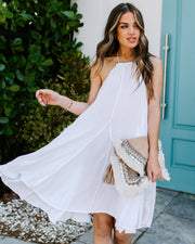 Darcy Distressed Halter Tunic - White - FINAL SALE