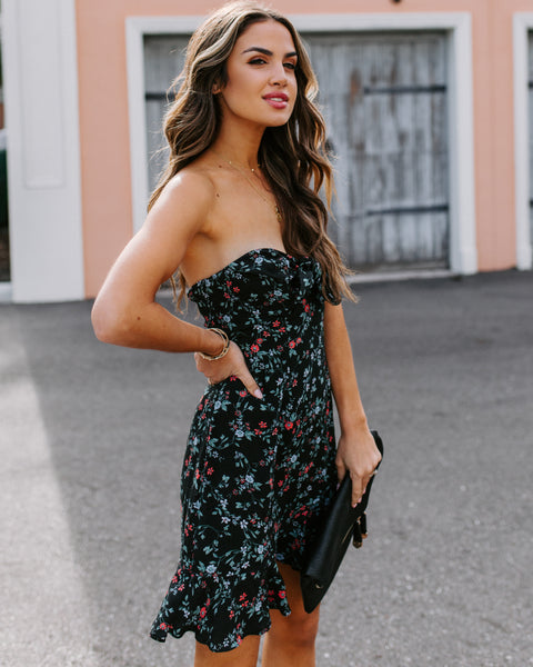 Stone Valley Strapless Floral Dress