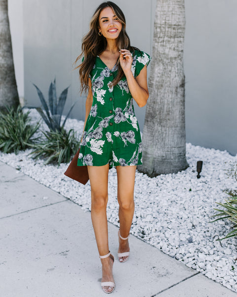 For Kicks Floral Button Down Romper