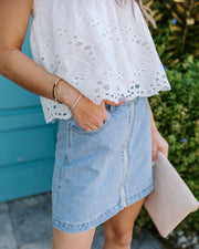 In A Zip Pocketed Denim Skirt - FINAL SALE