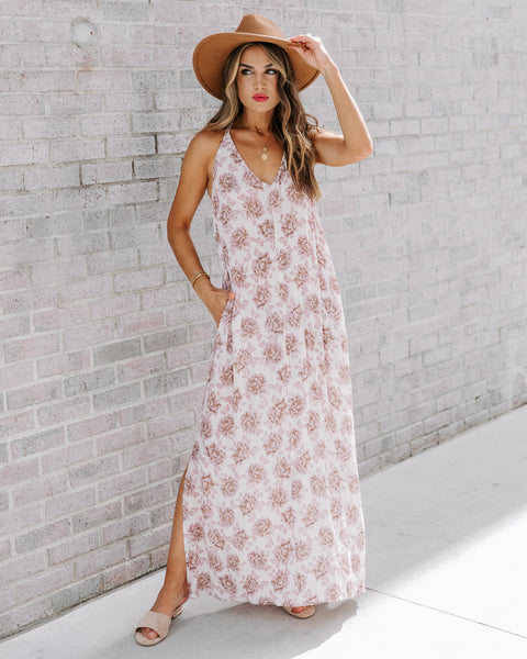 Rose Full Of Beauty Pocketed Maxi Dress