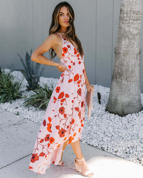 Villa D'este Floral High Low Maxi Dress