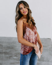 Swing Into Spring Tie Dye Lace Cami Tank - Cocoa - FINAL SALE