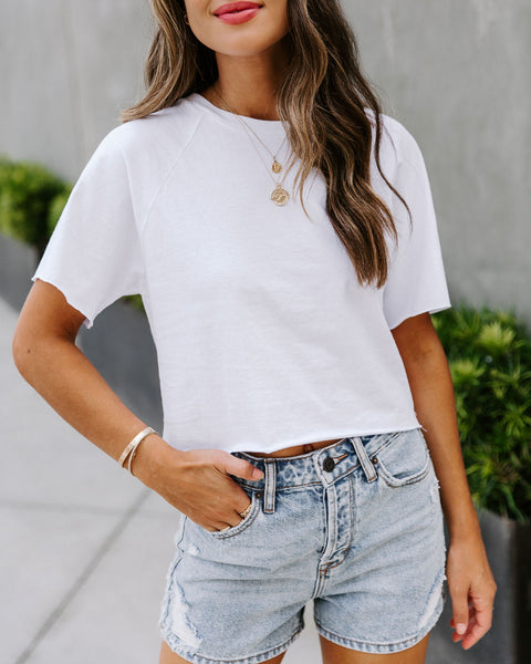 Claudia Cotton Crop Raglan Tee - White