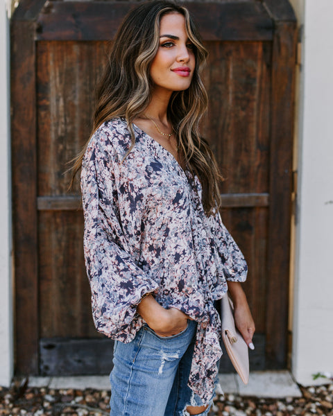 Beautiful Chaos Floral Tie Blouse
