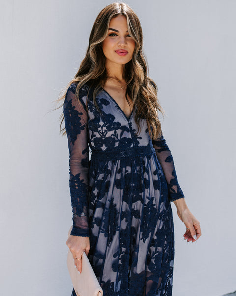 Lavish Life Long Sleeve Lace Maxi Dress