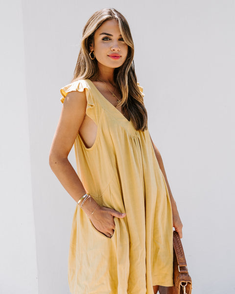 Daytime Playtime Cotton + Linen Pocketed Dress - Mustard