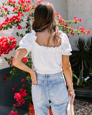 Caroline Cotton Puff Sleeve Crop Top - FINAL SALE