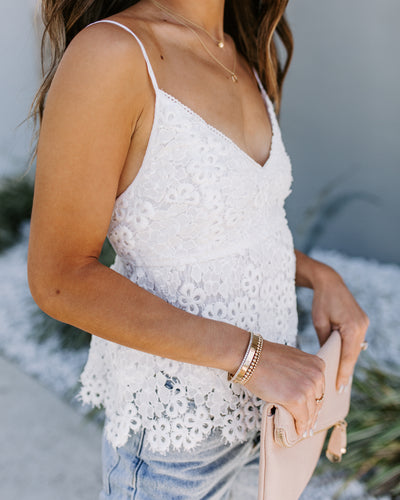 Dove Crochet Lace Babydoll Tank - FINAL SALE