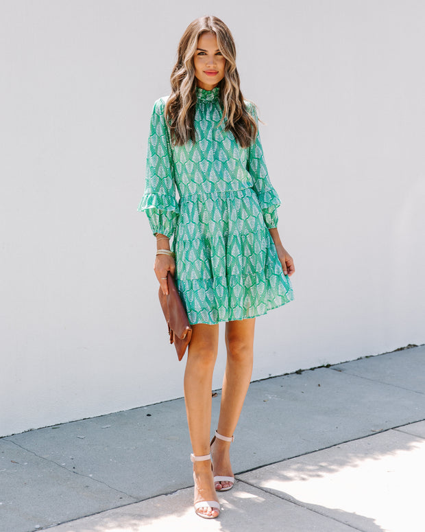 Lucky Clover Printed Ruffle Dress