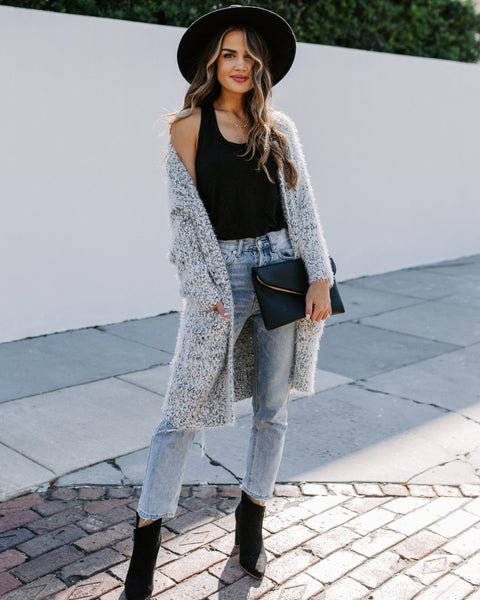 Only In New York Pocketed Fuzzy Knit Cardigan - FINAL SALE