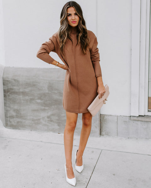 Paula Mock Neck Sweater Dress - Mocha