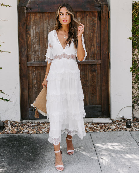 Setting Sun Lace Tiered Midi Dress - White
