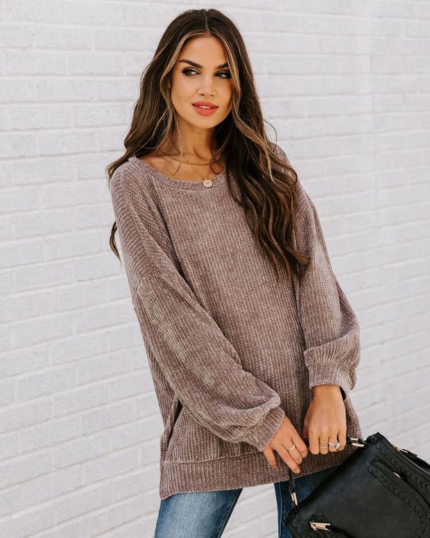 Cold Winter Air Relaxed Chenille Sweater - Mocha