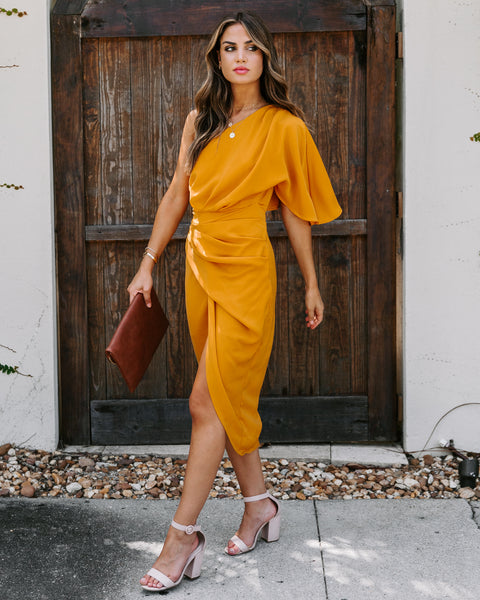 Marigold One Shoulder Drape Midi Dress