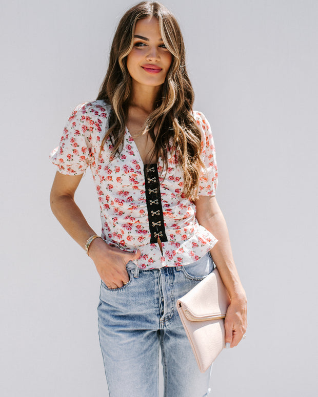 Rose Thorn Floral Hook + Eye Top - FINAL SALE