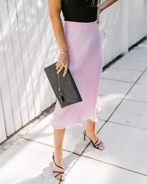 Instant Gratification Frayed Midi Skirt - Pink - FINAL SALE