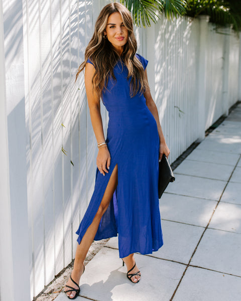 Chase Your Dreams Slit Midi Dress - Blue Raspberry