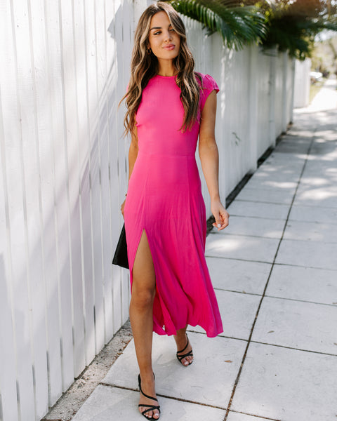 Chase Your Dreams Slit Midi Dress - Bubbalicious