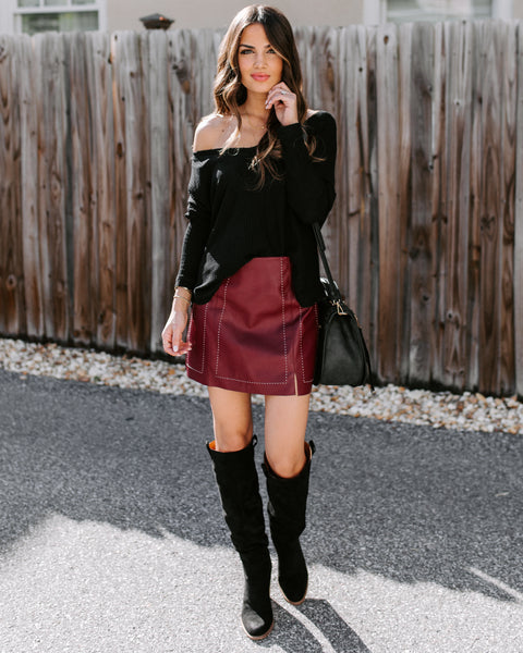 Genius Is Patience Faux Leather Mini Skirt - Wine