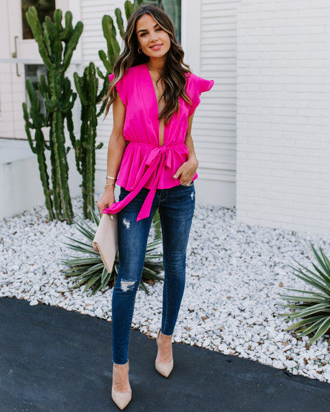Veronica Peplum Tie Blouse - Hot Pink