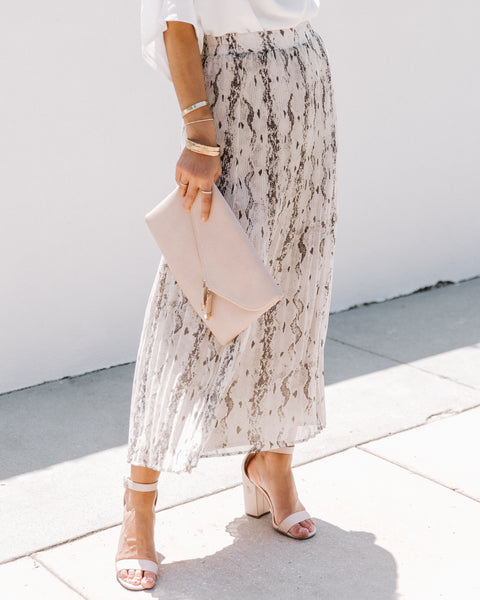 Take A Hint Pleated Python Midi Skirt
