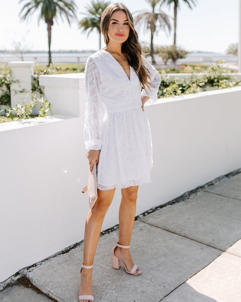 Best Behavior Embroidered Button Down Dress - White - FINAL SALE