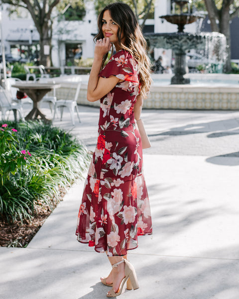 Give A Compliment Floral Ruffle Midi Dress