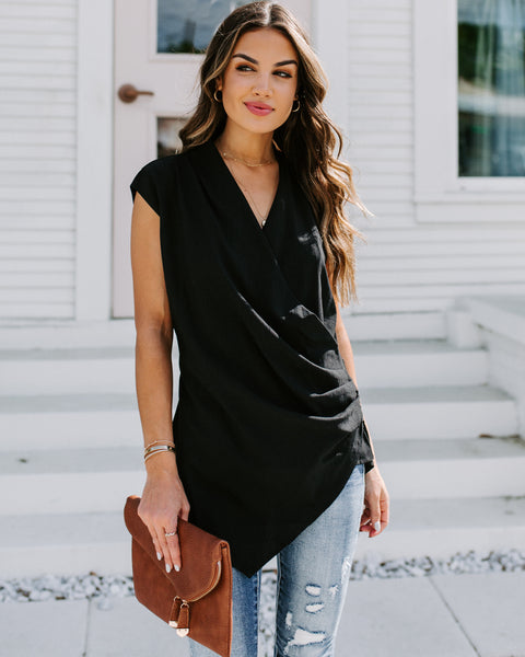 Leadership Sleeveless Zip Wrap Top - Black - FINAL SALE