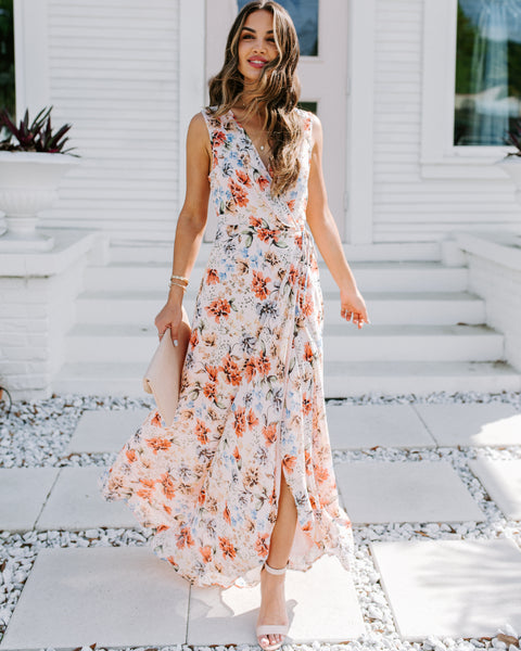 Ornate Floral Wrap Maxi Dress