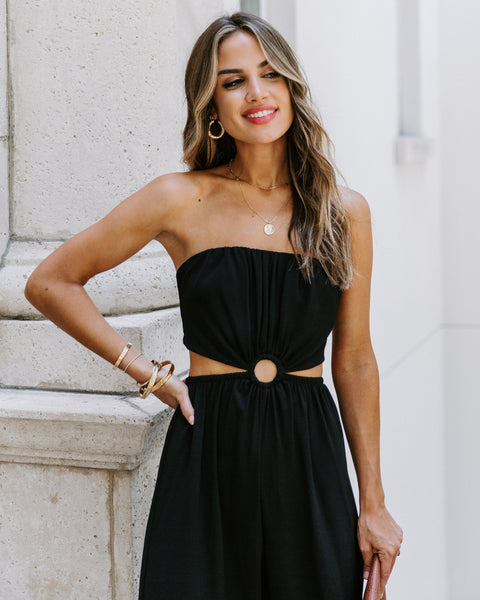Dolled Up Strapless Cutout Jumpsuit - Black