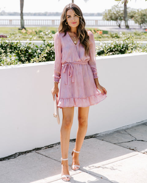 Pretty In Pink Chiffon Ruffle Dress - FINAL SALE