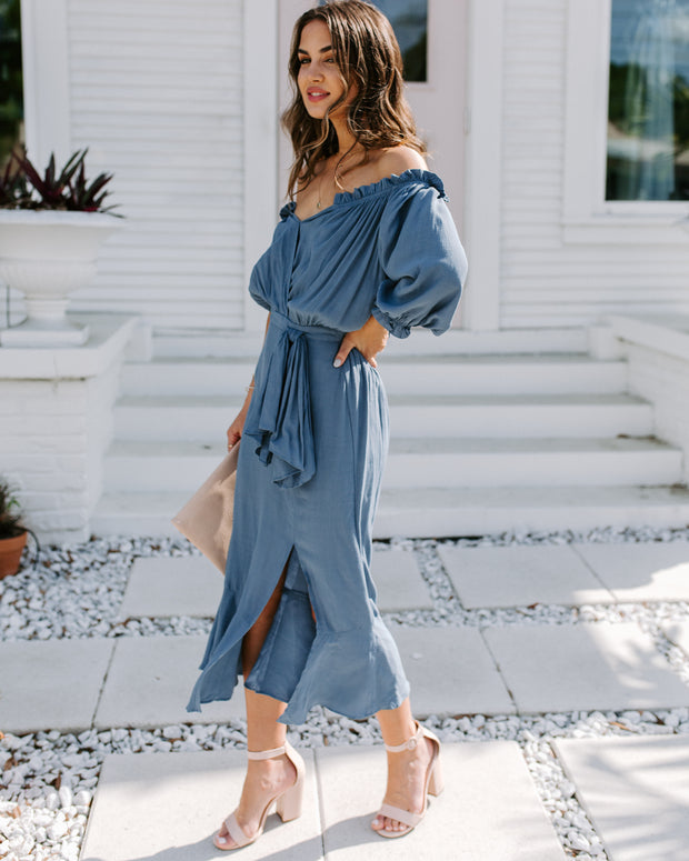 Gifted Ruffle Midi Dress - Dusty Blue