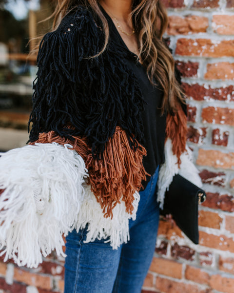 Trifecta Shaggy Fringe Colorblock Jacket - FINAL SALE