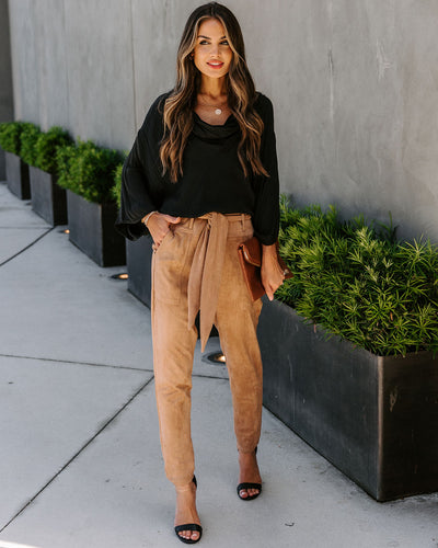Seasonal Refresh Pocketed Faux Suede Pants - Light Tan